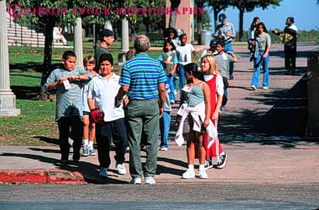 Stock Photo #4301: keywords -  adolescent balboa boy boys child children class educate education elementary ethnic field fifth girl girls grade group horz learn minority mixed park race school students study summer together trip young youth
