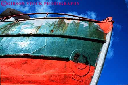 Stock Photo #4346: keywords -  boat bow bumped craft dent dented fishing float horz neat old paint recreation ship up used vessel water weathered