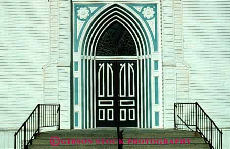 Stock Photo #4376: keywords -  architecture church custom design door doorway entrance entry frame front horz paint pattern white wood