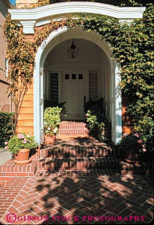 Stock Photo #4382: keywords -  arch architecture brick church custom design door doorway entrance entry frame front home house path pattern vert walkway wood