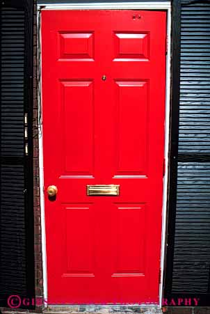 Stock Photo #4384: keywords -  architecture custom design door doorway entrance entry frame front home pattern red square vert wood