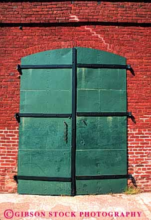 Stock Photo #4387: keywords -  architecture brick columbia custom design door doorway entrance entry frame front green heavy historic metal old park pattern secure state steel strong vert vintage wall