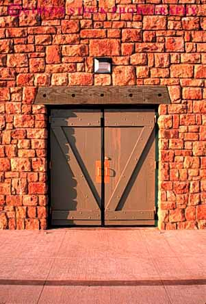 Stock Photo #4394: keywords -  architecture braced cross custom design door doorway entrance entry frame heavy masonry pattern sandstone secure square stone strong utility vert wall wood