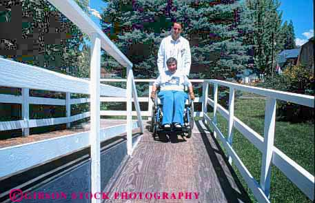 Stock Photo #4457: keywords -  assist assisted assists attendant attendants care challenge challenged client clients disability disabled disadvantage disadvantaged giver handicap handicapped healthcare help home horz house impair impaired need needs ramp released special wheelchair woman