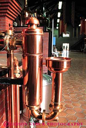 Stock Photo #4503: keywords -  alcohol brandy clean copper distill distillery equipment ferment fermentation fermented fermenting machine machinery making metal natural pipe plumb plumbing resource rms shiny tube vert wine