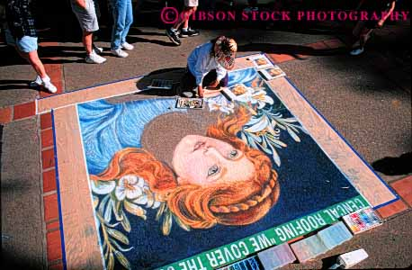 Stock Photo #4559: keywords -  art artist artistic carrier chalk create creation creative expression female hobby horz interpret interpretation large luis obispo paint painter painting portrait practice san sidewalk skill style temporary visual