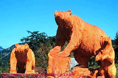 Stock Photo #4581: keywords -  animal art artistic bear carve carved carving chisel craft create creative cub cubs cut family horz mammal sculpture sow wood