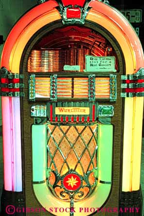 Stock Photo #4594: keywords -  antique box color colorful fashion fashioned juke jukebox jukeboxes lighting machine music neon old play player record sound vert vintage wurlitzer