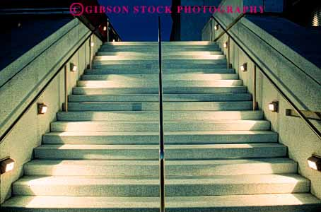 Stock Photo #4626: keywords -  angle angles architecture concrete dark design dusk elevate elevation function geometric geometry guide height horz illuminate light lighting lights night right safety stair staircase stairs step steps up walk