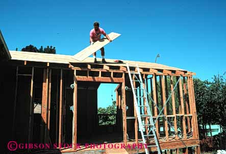Stock Photo #4675: keywords -  add addition alone build builder building construct construction frame home horz house improvement ladder male man new one owner plywood project released residence residential roof room solitary solitude wood
