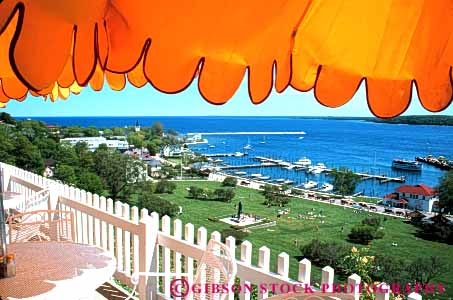 Stock Photo #4707: keywords -  aerial area cafe dining elevated fence horz island landscape mackinac michigan overview picket restaurant scenic umbrella view yellow