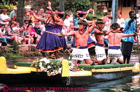 Stock Photo #4739: keywords -  boat canoe center color colorful coordinate coordinated costume cultural culture dance dancing display dress ethnic group hawaii heritage horz minority move movement music musical pageant perform performance performers performing polynesian practice routine show stage team together traditional tropical water