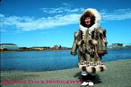Stock Photo #4771: keywords -  alaska american clothes clothing coat eskimo ethnic fur horz indian minority native nome released tradition traditional tribe warm winter woman