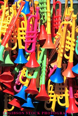 Stock Photo #4837: keywords -  buy color colorful commerce display economics economy horn instrument merchandise music musical plastic play retail sales sell toy toys vert