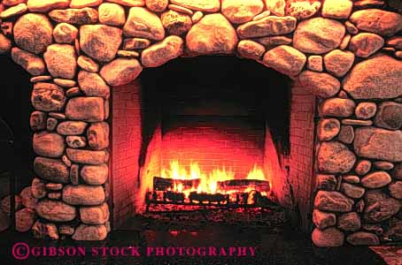 Stock Photo #4932: keywords -  americana burn cabin fire fireplace flame hearth heat horz hot interior rock stone tradition traditional wood