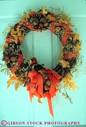 Stock Photo #4956: keywords -  autumn decorate decorated decoration door dried dry fall flower flowers home house vert wreath