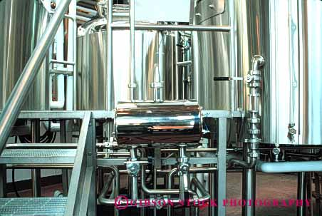 Stock Photo #4998: keywords -  alcohol alcoholic beer beverage brew brewery brewing clean drink drinking equipment horz line metal microbrewry pipe refreshment sanitary serve shiny stainless steel tank tube vat vats