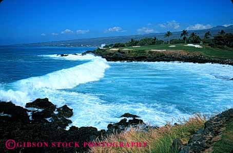 Stock Photo #5080: keywords -  close coast course cut game golf golfing grass green groom groomed hawaii hazard hole horz kea landscape landscaped lawn manicure manicured mauna ocean resort shore smooth surf three trim trimmed water