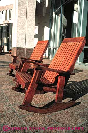 Stock Photo #5085: keywords -  chairs city comfort comfortable design exterior furniture hall orlando outdoor outside pair relax relaxing rocker rocking seat sit two vert wood