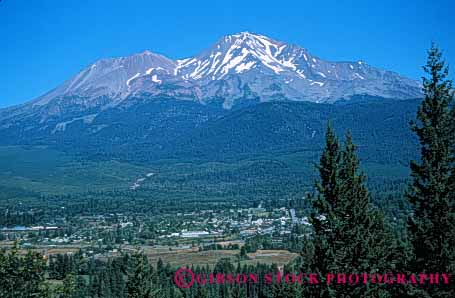 Stock Photo #5196: keywords -  america american buildings california city community horz landscape mount mountain neighborhood rural safe safety secure security shasta sky small snow summer town