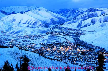 Stock Photo #5200: keywords -  aerial america american buildings chilly city cold community dusk elevate elevated horz idaho ketchun landscape light lighting mountain mountains neighborhood rural safe safety secure security small snow sun town valley view wilderness winter