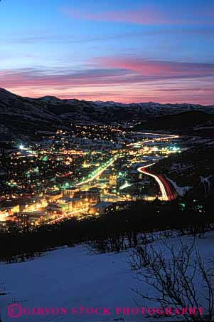 Stock Photo #5213: keywords -  america american buildings city cold community dusk elevate elevated light lighting lights neighborhood overview park rural safe safety secure security small snow sunset town utah vert winter