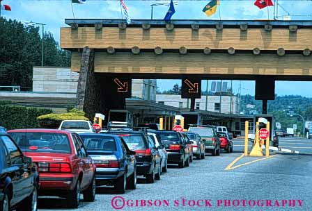 Stock Photo #5299: keywords -  access blaine booth border boundary canada car check control country cross crossing customs entry gate government horz immigrate immigration international line of patrol port states united wait washington